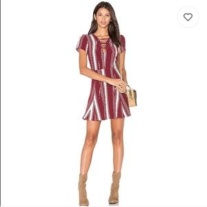 LOVERS + FRIENDS Laceup Striped A-Line Dress NWD